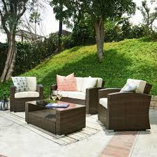 outdoor u0026 garden the home bahia tan finish wicker patio furniture