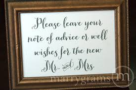 wedding well wishes advice well wishes sign for the new mr and mrs thick style