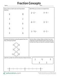 mixed numbers and improper fractions worksheets education com