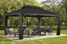 12 X 16 Pergola by 12x16 Steel Hardtop Gazebo Galvanized Metal Roof Mosquito Netting