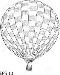 air balloon vector sketch up line royalty free cliparts