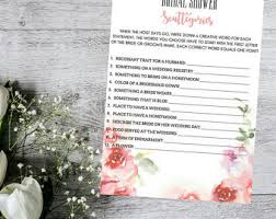 interactive bridal shower bridal scattegories etsy