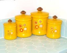 vintage style kitchen canisters vintage nasturtiums canisters yellow set 3 aluminum flower rustic