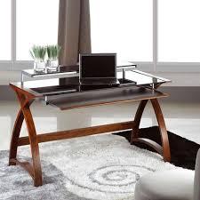 Pc Table Simple Wooden Veneer Walnut Work Desk Black Glass Shelf