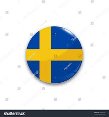 Blue Flag With Yellow Circle Round Button National Flag Sweden Reflection Stock Vector