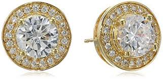 yellow gold earrings 18k yellow gold plated sterling silver cubic zirconia