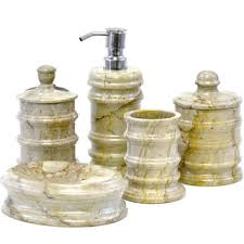 5 Piece Bathroom Set by Nature Home Decor Fossil Stone 5 Piece Bathroom Accessory Set Of