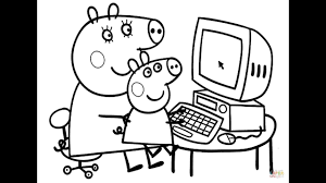 coloring pages for kids peppa pig and daddy pig on computer
