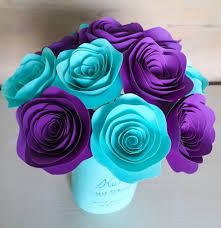 Rose Home Decor Paper Flowers Stemmed Purple Aqua Aquamarine