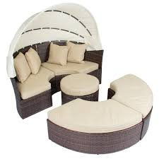 Wicker Rattan Patio Furniture - outdoor patio sofa furniture round retractable canopy daybed brown
