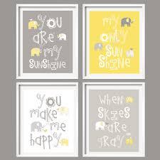 Yellow And Gray Nursery Decor Wall Yellow And Gray Nursery Decor Elephant Prints You