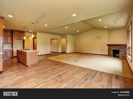 open floor plan empty living room with carpet floor stock photo