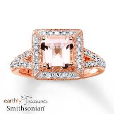gold and morganite ring jared morganite ring 1 6 ct tw diamonds 14k gold