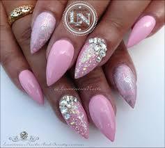 luminous nails plush pink u0026 silver nails acrylic u0026 gel nails