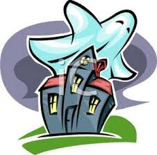 pictures of cartoon haunted houses of a ghost flying over a haunted house royalty free clipart picture