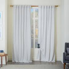 Living Rooms With Curtains Cotton Canvas Chambray Print Curtain Platinum West Elm