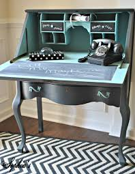 diy painted black u0026 teal blue vintage phone secretary desk with