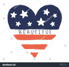 Cute American Flag Shirts Beautiful Heart Vectorvector Grunge Print Stock Vector