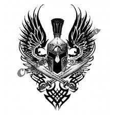 spartan helmet weapon and shield tattoo design photo 2 photo