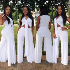 all white jumpsuits 2018 top bodycon bandage jumpsuit wide leg breast