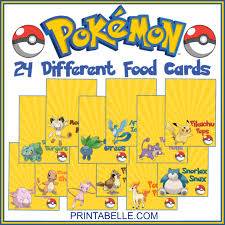 pokemon party snack bar food cards u2013 printables for kids parties