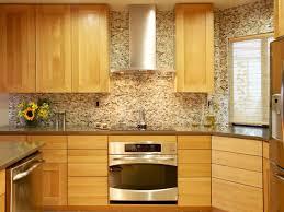 kitchen backsplash glass tile ideas espresso wood geometric shaped