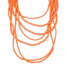beaded coral necklace images Multi strand coral bead necklace long layered necklace by jpg