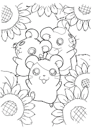 download three happy hamsters with sun flower coloring page or
