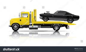 truck car black yellow truck towing black muscle car stock vector 509858626