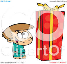cartoon of a boy standing by a large christmas gift box royalty
