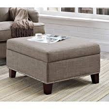 Square Ottomans Dorel Home Linen Square Ottoman With Nailhead Trim Gray Walmart