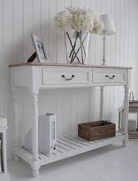 Cottage Sofa Table White Hall Table With Shelf And Drawers For French Coastal Design