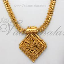 chain necklace with pendant images Long chain necklace pendant and earring set gold plated for sarees jpg