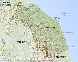 Italy Mountains Map by Region Of Marche Italia Mia