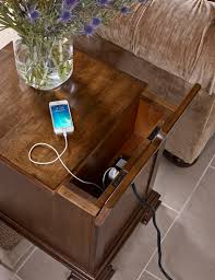 End Table Charging Station by Portolone Solid Wood Chairside Table With Flip Top And Electrical