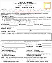 security incident report security incident report sample sample