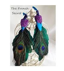 2 purple peacock ornament tree topper bird
