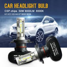 le h7 led 2pcs auto car headlight h7 led h4 h1 h3 h8 h9 h11 9006 9005 csp