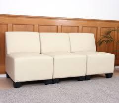 sofa ohne armlehne 3 sitzer sofa lyon kunstleder creme ohne armlehnen