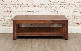 walnut coffee table with open shelf mayan walnut from big blu