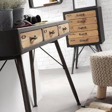console 3 tiroirs console industrielle en bois et métal 3 tiroirs refe par drawer fr
