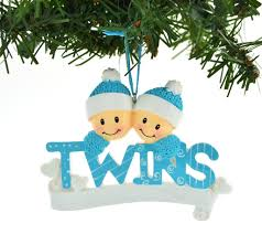 blue two boys brothers personalized ornaments