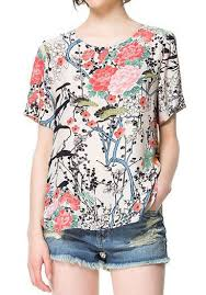 print blouses multicolor floral print collarless sleeve chiffon blouse