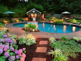 pool landscaping ideas pretty backyard pool landscaping with beautiful flower furniture