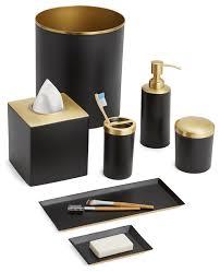 Contemporary Bathroom Accessories Sets - tuxedo 7 piece bath set black gold contemporary bathroom