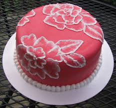 red fondant and brush embroidery cake welcome home cake for my