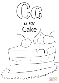 letter c is for cake coloring page free printable coloring pages