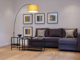 Living Room Grey Sofa by Small Living Room Present Yellow Drum Arch Floor Lamp Over Gray