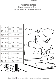 division worksheets divide numbers by 8 to 10