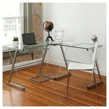 Glass Desk Table L Shaped Glass Corner Computer Desk Saracina Home Target